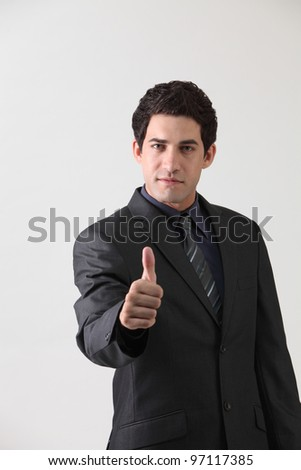 businessman with the hand gesture good - stock photo