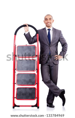 Businessman with the ladder isolated on white - stock photo
