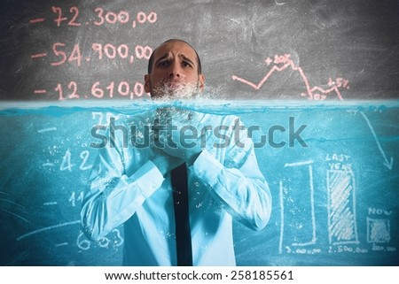 Businessman with the water in the throat - stock photo