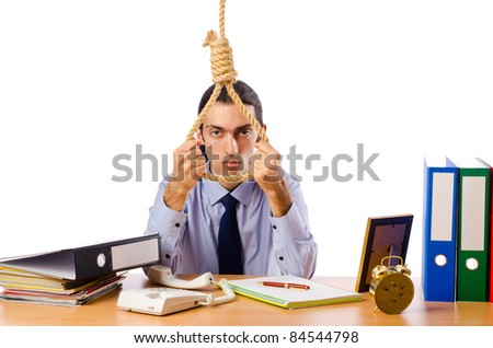 Businessman with thoughts of suicide - stock photo