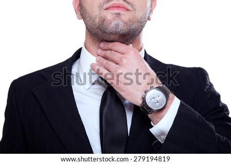 Businessman with throat ache - stock photo