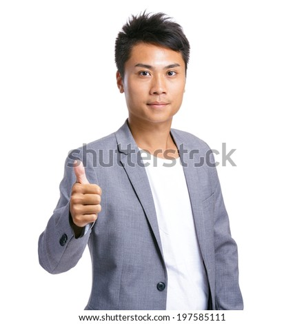 Businessman with thumb up - stock photo