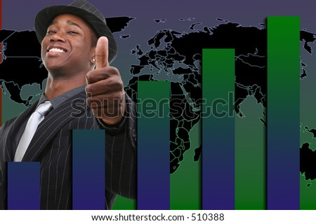 Businessman With Thumb Up Over Rising Graph Background.  Red and black background. - stock photo