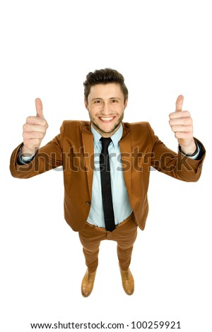 Businessman with thumbs up