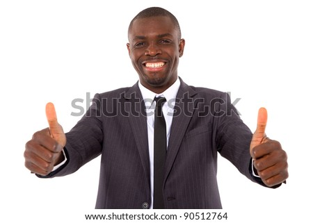 businessman with thumbs up - stock photo