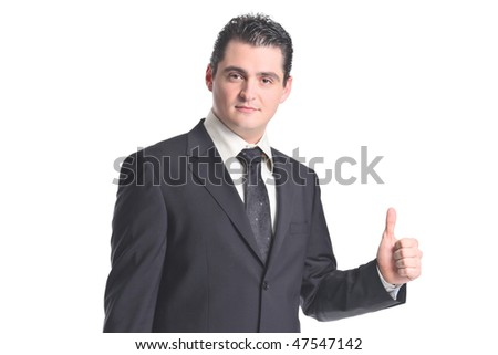 Businessman with thumbs up isolated on white background - stock photo