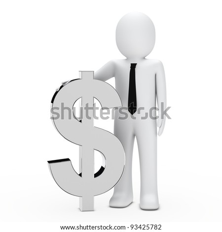 Businessman with tie hold a chrome dollar