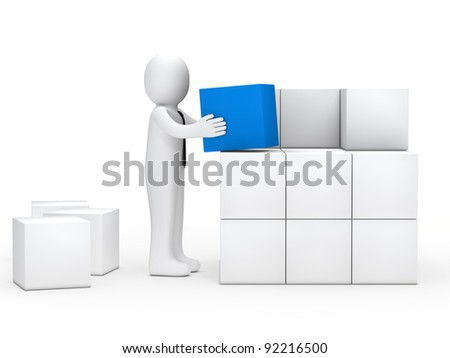 businessman with tie stack blue cube box - stock photo