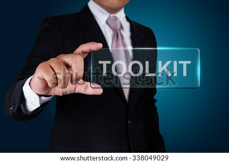 Businessman with toolkit text label.
