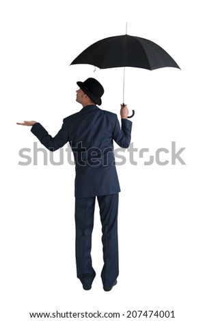 businessman with umbrella isolated on a white background