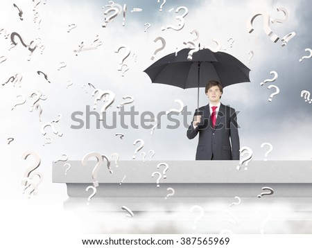 Businessman with umbrella on balcony. Grey sky at background, question marks everywhere around. Concept of problem rain