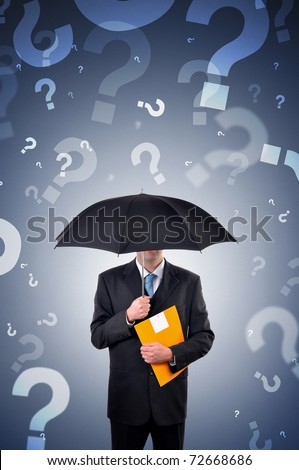Businessman with umbrella, question marks falling from the sky. Business choices and options concept.