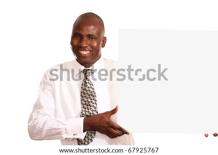 businessman with white card - stock photo
