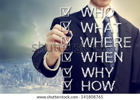 Businessman with who what where when why and how above the city - stock photo