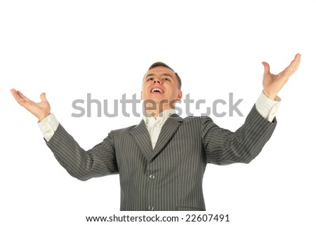businessman with wide hands