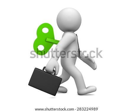 businessman with wind-up 3d render - stock photo
