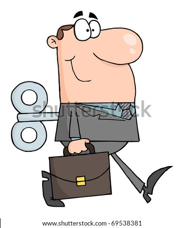 Businessman With Wind-up Key In His Back - stock photo