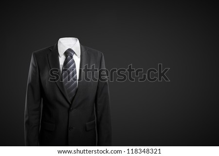 businessman without head  on black background