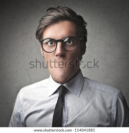 Businessman without the mouth - stock photo