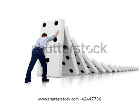 Businessman withstands moving down - stock photo
