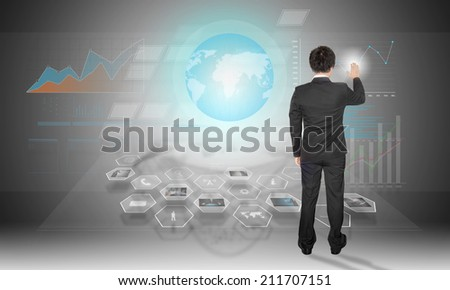 businessman work on high technology board