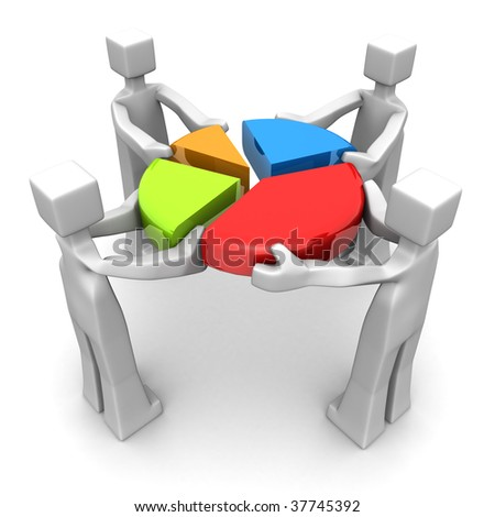 Businessman work together to combine a pie chart 3d illustration - stock photo