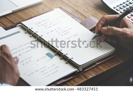 Businessman Working Agenda Writing Plan Concept