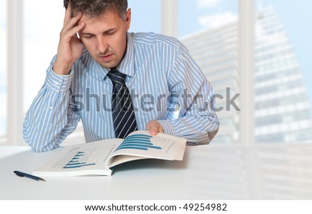 businessman working analyzing a annual report