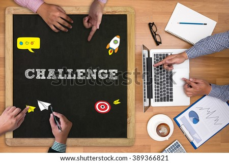 Businessman working and Challenge at office desk and using computer and objects on the right, coffee,  top view - stock photo
