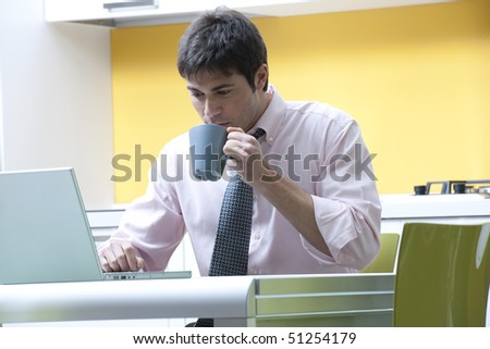 Businessman working at home - stock photo