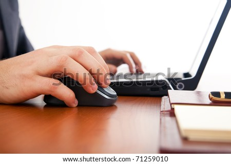 Businessman working at the laptop