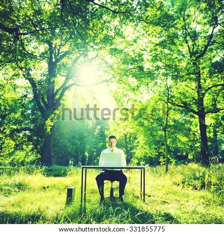 Businessman Working Computer Forest Green Concept - stock photo