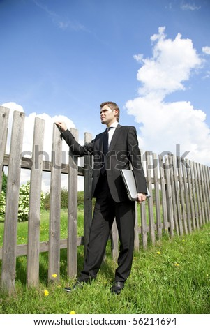 businessman working in country - stock photo