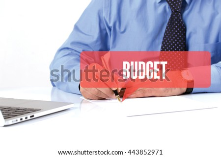 BUSINESSMAN WORKING OFFICE  BUDGET COMMUNICATION SPEECH BUBBLE CONCEPT - stock photo