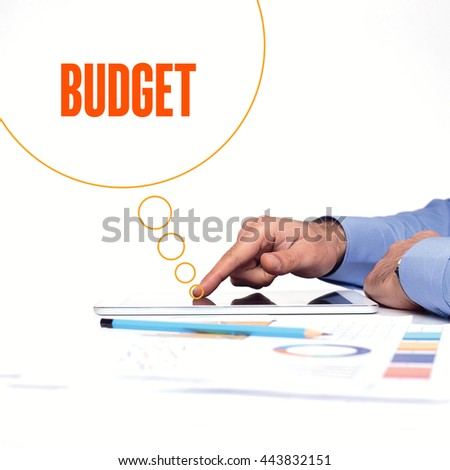 BUSINESSMAN WORKING OFFICE  BUDGET COMMUNICATION TECHNOLOGY CONCEPT - stock photo