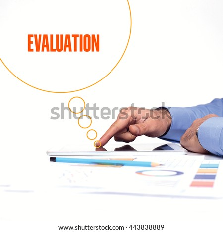 BUSINESSMAN WORKING OFFICE  EVALUATION COMMUNICATION TECHNOLOGY CONCEPT - stock photo