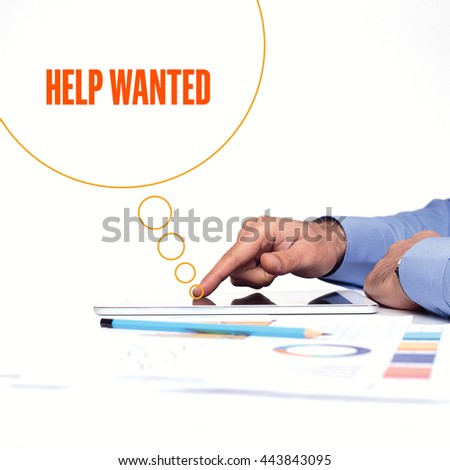BUSINESSMAN WORKING OFFICE  HELP WANTED COMMUNICATION TECHNOLOGY CONCEPT - stock photo