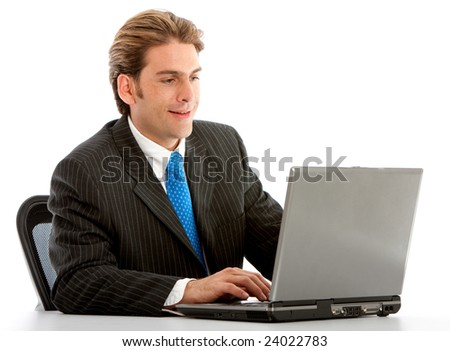 Businessman working on a laptop - isolated on white