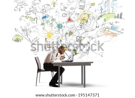 Businessman working on a new idea with a laptop - stock photo