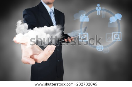 Businessman working on cloud computing business security concept