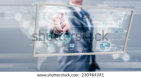 Businessman working on digital screen, new generation technology concept - stock photo