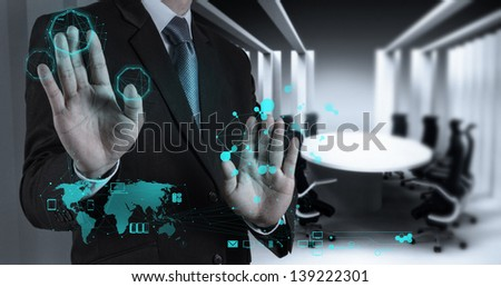 businessman working on modern technology as concept
