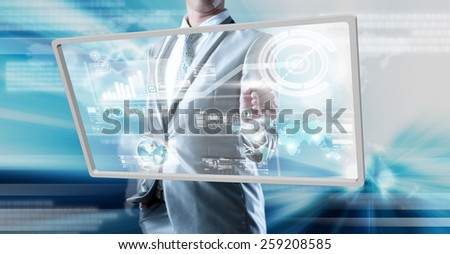 Businessman working on new technology digital screen, business technology concept - stock photo