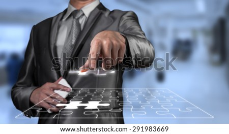 businessman working on risk management, business concept - stock photo