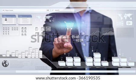 Businessman working on virtual interface Computer. Design concept of Business and technology. E-commerce. Trade Online. Technology and Communication.