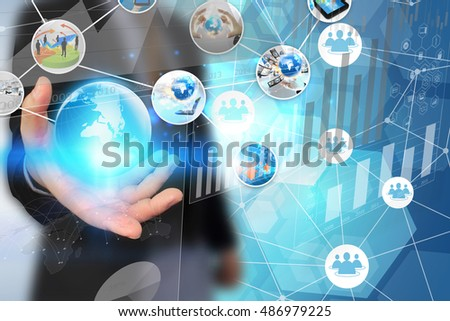 Businessman working on virtual screen.business concept,technology
