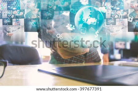 Businessman working on virtual screen.business concept,technology,management - stock photo
