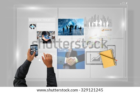 Businessman working on virtual screen with smartphone,business concept - stock photo