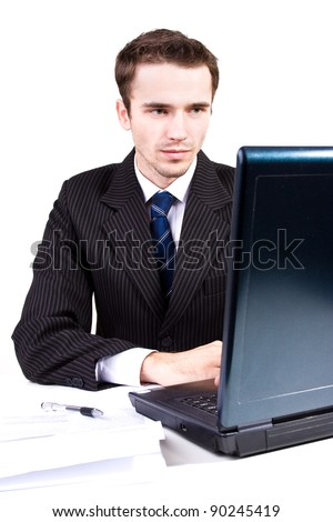 Businessman working or learning with computer, notebook, elegance male model, fashion and finance, studio shot on white, bright background - stock photo