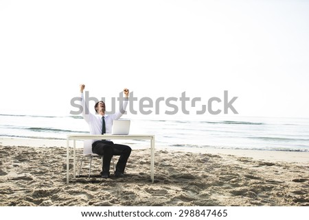 Businessman Working Success Beach Vacation Concept
